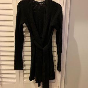Long Black Cardigan Sweater with belt tie